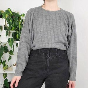Vintage Loose Ribbed Knit Crew Neck Sweater